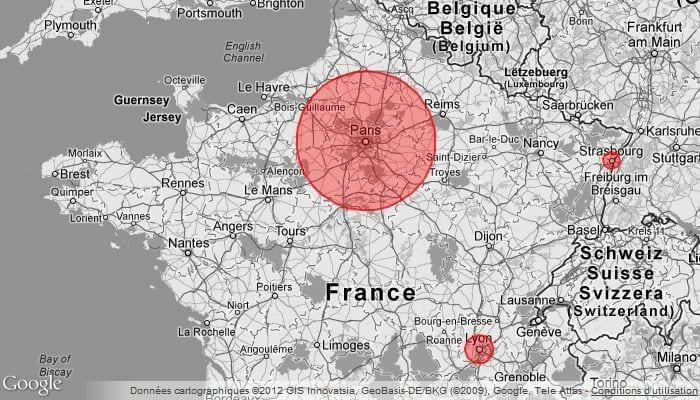 google maps gris zone rouge